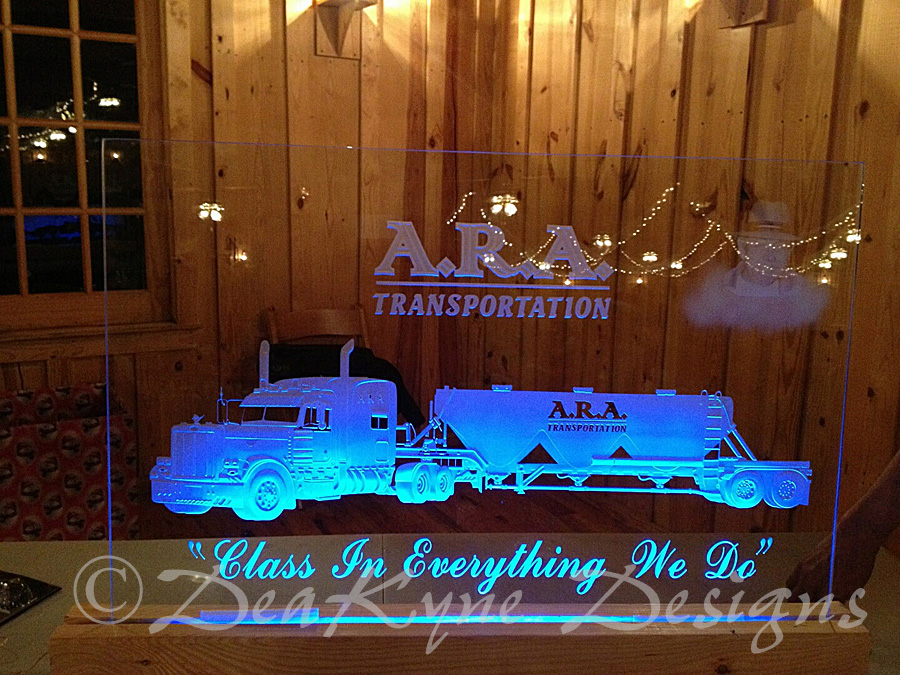 Edge Lit Etched Glass Truck and photo