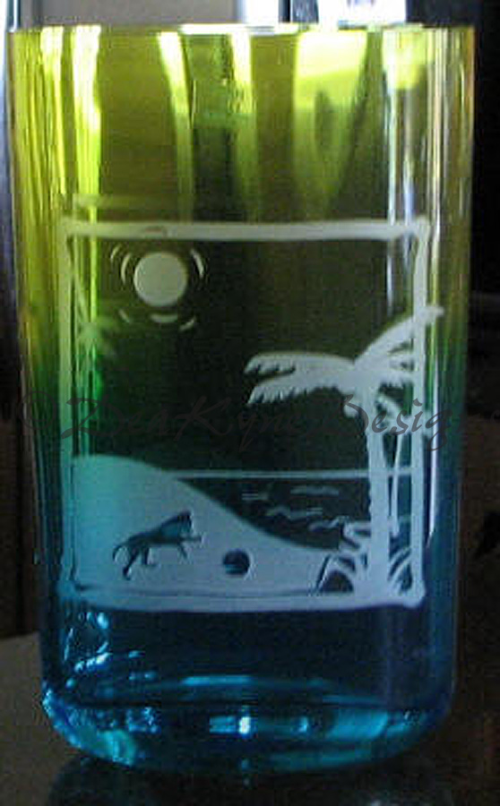 Etched Amstaff at the Beach Vase