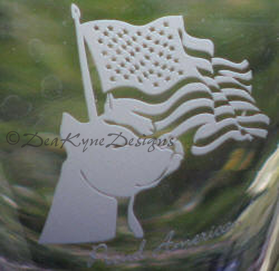 Photoresist etched wine glass - proud american amstaff