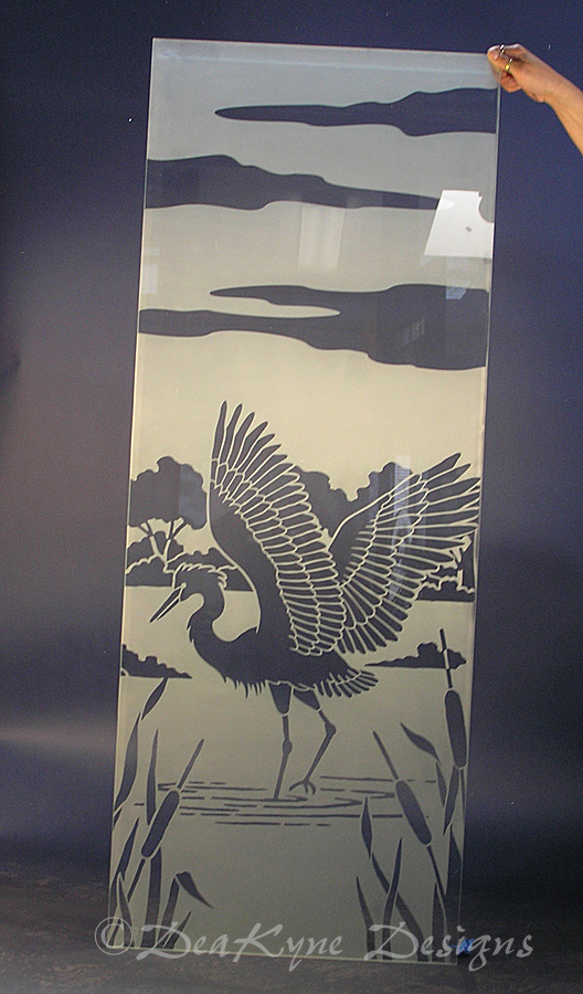 Etched Glass Crane